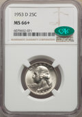 Washington Quarters, 1953-D 25C MS66+ NGC. CAC. NGC Census: (357/64). PCGS Population: (324/36). CDN: $50 Whsle. Bid for NGC/PCGS MS66. Mintage ...