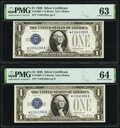 Consecutive Pair of Fr. 1600* $1 1928 Silver Certificates. PMG Choice Uncirculated 63 and 64. ... (Total: 2 notes)