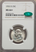 Washington Quarters, 1953-D 25C MS66+ NGC. CAC. NGC Census: (357/64). PCGS Population: (323/36). CDN: $50 Whsle. Bid for NGC/PCGS MS66. Mintage ...