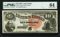 Large Size:Legal Tender Notes, Fr. 107 $10 1880 Legal Tender PMG Choice Uncirculated 64.. ...