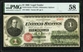 Large Size:Legal Tender Notes, Fr. 16 $1 1862 Legal Tender PMG Choice About Unc 58.. ...