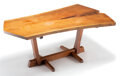 Furniture, George Nakashima (American, 1905-1990). Conoid Dining Table, 1970. Single English walnut board, two rosewood butterfly k...