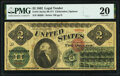 Large Size:Legal Tender Notes, Fr. 41 $2 1862 Legal Tender PMG Very Fine 20.. ...