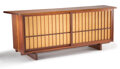 Furniture, George Nakashima (American, 1905-1990). Cabinet, 1957. Walnut, pandanus cloth. 32 x 82-3/4 x 21-1/2 inches (81.3 x 210.2...
