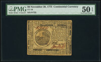 Continental Currency November 29, 1775 $6 PMG About Uncirculated 50 EPQ