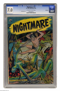 Nightmare #13 Bethlehem pedigree (St. John, 1954) CGC FN/VF 7.0 Off-white to white pages. Matt Baker cover. Bob Powell a...