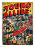 Golden Age (1938-1955):Superhero, Young Allies Comics #8 (Timely, 1943). Toro and Bucky appear on what Overstreet designates as a classic Alex Schomburg World...