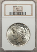 Peace Dollars: , 1927-D $1 MS63 NGC. NGC Census: (862/841). PCGS Population: (1754/1516). CDN: $315 Whsle. Bid for NGC/PCGS MS63. Mintage 1,...