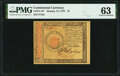 Colonial Notes:Continental Congress Issues, Continental Currency January 14, 1779 $1 PMG Choice Uncirculated 63.. ...