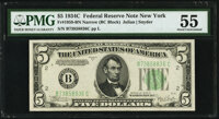 Fr. 1959-B $5 1934C Narrow Federal Reserve Note. PMG About Uncirculated 55