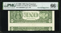 Error Notes:Inverted Reverses, Inverted Back Type II Error Fr. 1934-L $1 2009 Federal Reserve Note. PMG Gem Uncirculated 66 EPQ.. ...