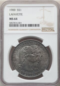 1900 $1 Lafayette Dollar MS64 NGC. DuVall 2-C. This is one of the plentiful varieties of the Lafayette dollar, often fo...