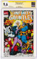 Modern Age (1980-Present):Superhero, The Infinity Gauntlet #6 Signature Series: Stan Lee (Marvel, 1991) CGC NM+ 9.6 White pages....
