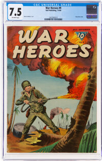 War Heroes #9 (Dell, 1944) CGC VF- 7.5 Off-white pages