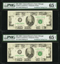 Error Notes:Inking Errors, Insufficient Magnetic Ink Fr. 2077-G $20 1990 Federal Reserve Notes. Two Consecutive Examples. PMG Gem Uncirculated 65 EPQ.