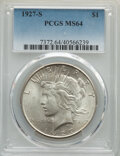 Peace Dollars: , 1927-S $1 MS64 PCGS. PCGS Population: (1571/97). NGC Census: (1031/78). CDN: $750 Whsle. Bid for NGC/PCGS MS64. Mintage 866...