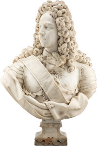 A Continental Marble Bust of a King, 20th century 37 x 28 x 15 inches (94.0 x 71.1 x 38.1 cm)