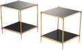 Furniture, A Pair of Maison Jansen-Style Glass and Brass Side Tables, Paris, circa 1965. 18 x 16 x 16 inches (45.7 x 40.6 x 40.6 cm) (e... (Total: 2 Items)