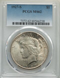 Peace Dollars: , 1927-S $1 MS62 PCGS. PCGS Population: (1232/3823). NGC Census: (791/2208). CDN: $270 Whsle. Bid for NGC/PCGS MS62. Mintage ...