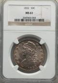 Bust Half Dollars: , 1832 50C Small Letters MS61 NGC. NGC Census: (79/330). PCGS Population: (28/367). CDN: $800 Whsle. Bid for NGC/PCGS MS61. M...