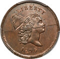 Half Cents, 1796 1/2 C No Pole, C-1, B-1, R.6, MS67 Red and Brown PCGS....
