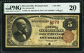 National Bank Notes:Pennsylvania, Brownsville, PA - $5 1882 Brown Back Fr. 466 The Second National Bank Ch. # 2673 PMG Very Fine 20.. ...