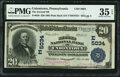 National Bank Notes:Pennsylvania, Uniontown, PA - $20 1902 Plain Back Fr. 658 The Second National Bank Ch. # (E)5034 PMG Choice Very Fine 35 EPQ.. ...