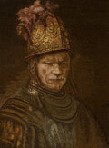 Paintings, An Italian Micromosaic After Rembrandt's Casco del Oro, second half 20th century. 25 x 18-1/2 inches (63.5 x 47.0 cm...