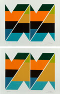 Prints & Multiples, Larry Zox (1936-2006). Scissor Jack I and II (two works), late 20th century. Screenprint in colors on paper. 30 x 39... (Total: 2 Items)