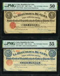 World Currency, Cuba Republica de Cuba 1 Peso, 5 Pesos 17.8.1869 Pick 61, Pick 62 PMG About Uncirculated 50 and 55.. ... (Total: 2 notes)