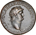 Ancients: Nero, as Augustus (AD 54-68). AE sestertius (35mm, 28.68 gm, 7h). NGC Choice XF★ 5/5 - 4/5, Fine Style