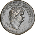 Ancients:Roman Imperial, Ancients: Nero, as Augustus (AD 54-68). AE sestertius (35mm, 27.84 gm, 7h). NGC Choice XF 5/5 - 3/5. Fine Style, edge marks....