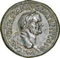 Ancients:Roman Imperial, Ancients: Vespasian (AD 69-79). AE sestertius (35mm, 25.52 gm, 6h). NGC AU 5/5 - 2/5, Fine Style....