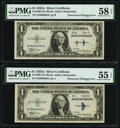 Partial Obstructed Printing Error Fr. 1608 $1 1935A Silver Certificates. Two Consecutive Examples. PMG Graded About Unci...