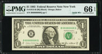 Solid Serial Number 66666666 Fr. 1913-B $1 1985 Federal Reserve Note. PMG Gem Uncirculated 66 EPQ