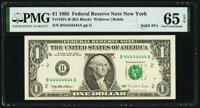 Solid Serial Number 44444444 Fr. 1921-B $1 1995 Federal Reserve Note. PMG Gem Uncirculated 65 EPQ