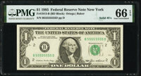 Solid Serial Number 55555555 Fr. 1913-B $1 1985 Federal Reserve Note. PMG Gem Uncirculated 66 EPQ
