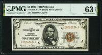 """Low Serial Number """"24"""" Fr. 1850-A $5 1929 Federal Reserve Bank Note. PMG Choice Uncirculated 63 EPQ"""