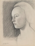 Paintings, George Copeland Ault (American, 1891-1948). Head of a Woman, 1922. Charcoal on laid paper. 12-3/8 x 9-3/8 inches (31.4 x...