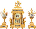 Clocks & Mechanical, A Three-Piece French Gilt Metal Mounted and Cloisonné Clock Garniture, 20th century . 21 x 13 x 7 inches (53.3 x 33.0 x 17.8... (Total: 3 Items)