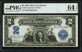Large Size:Silver Certificates, Fr. 258 $2 1899 Silver Certificate PMG Choice Uncirculated 64 EPQ.. ...