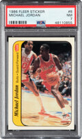 Basketball Cards:Singles (1980-Now), 1986 Fleer Sticker Michael Jordan #8 PSA NM 7....