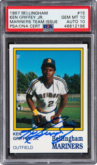 Signed 1987 Bellingham Mariners Ken Griffey Jr. #15 PSA Gem MT 10, Auto 10!