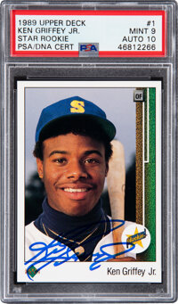 Signed 1989 Upper Deck #1 Ken Griffey Jr. PSA Mint 9, Auto 10
