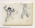 Original Comic Art:Sketches, Frank Frazetta - Tomahawk Preliminary Sketch Original Art (undated). These figures are rendered in graphite pencil and ink. ...