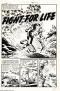"""Original Comic Art:Complete Story, Howard Nostrand - Warfront #32 Complete 5-page Story """"Fight ForLife"""" Original Art (Harvey, 1958). Howard Nostrand uncorks h..."""