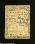 Colonial Notes:Continental Congress Issues, Continental Congress Issue February 17, 1776 $1/2 Very Fine.