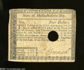 Colonial Notes:Massachusetts, Massachusetts May 5, 1780 $4 Extremely Fine.A moderately ...