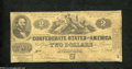 Confederate Notes:1862 Issues, T42 $2 1862. One signature has faded, while the signature ...