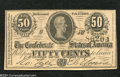 Confederate Notes:1864 Issues, T72 50 Cents 1864. Serial number embossing is found on ...